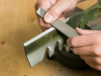 You can make the lawn mower blade sharpener by hand