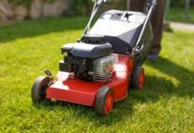 An example of a petrol lawnmower