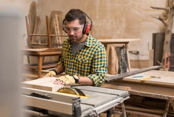 Always have your protective gears on when using a table saw
